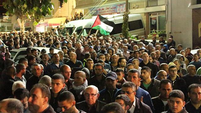 The funeral for Khair Hamdan, shot Friday by police in Kafr Kanna. (Photo: alarab.net) (Photo: alarab.net)