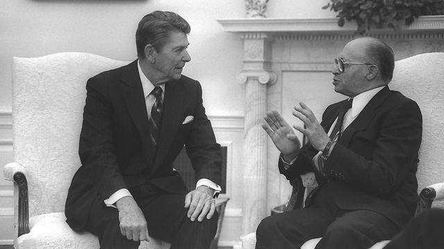 Begin with President Ronald Reagan at the White House in 1981 (Photo: Getty)
