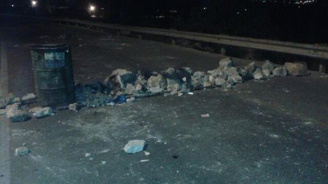 Road blocked in Kafr Kanna.