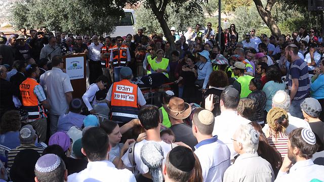 The funeral of terror victim Dalia Lemkus in Tekoa on Tuesday. (Photo: Gil Yohanan) (Photo: Gil Yohanan)