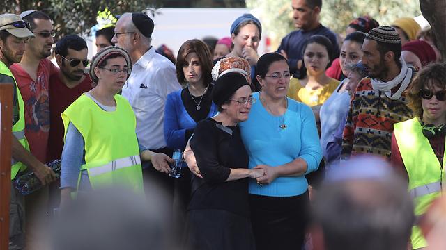 Friends and family mourn terror victim Dalia Lemkus. (Photo: Gil Yohanan) (Photo: Gil Yohanan)