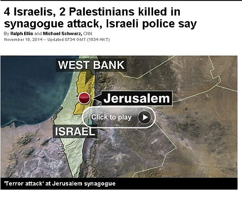 CNN coverage of the attack in Jerusalem: Terrorists included in the death toll.