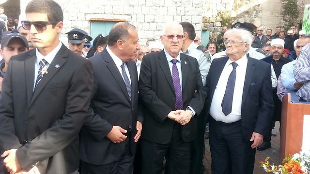 Rivlin at funeral service (Photo: Avihu Shapira) (Photo: Avihu Shapira))