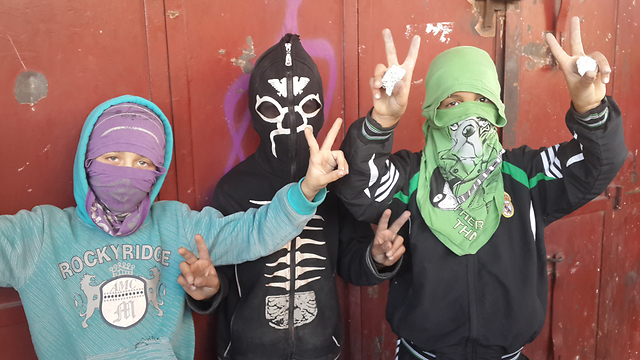 Masked Palestinian children who have joined riots in East Jerusalem. (Photo: Mohammed Shinawi) (Photo: Mohammed Shinawi)