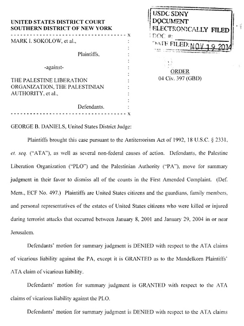 The court's decision.