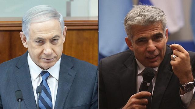 Netanyahu and Lapid (Photo: Motti Kimchi, Emil Salman)
