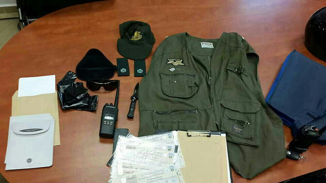 Israel Police items found in possession of the suspect. (Photo: Israel Police)