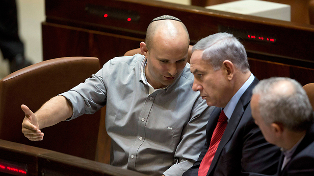 Bennett with Netanyahu in the last Knesset. The Bayit Yehudi leader has upped the ante. (Photo: EPA) (Photo: EPA)