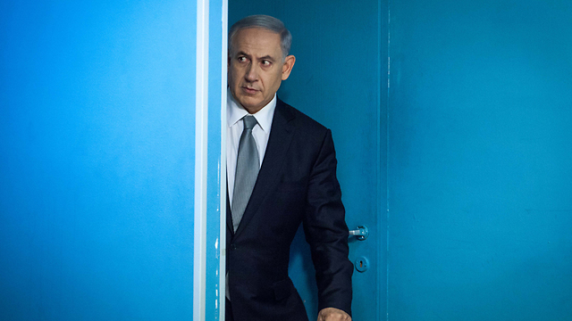 Netanyahu before his press conference. 'The dramatic description of a finance minister teaming up with the justice minister in a dark place to oust the prime minister is clinically concerning' (Photo: Emil Salman)