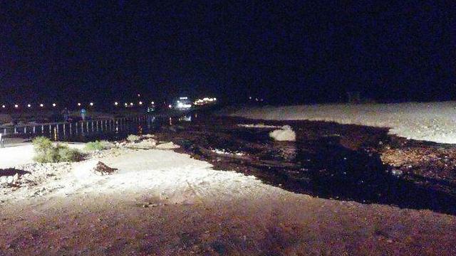 דליפת הנפט סמוך לכביש 90 (צילום: חטיבת דובר המשטרה) (צילום: חטיבת דובר המשטרה)