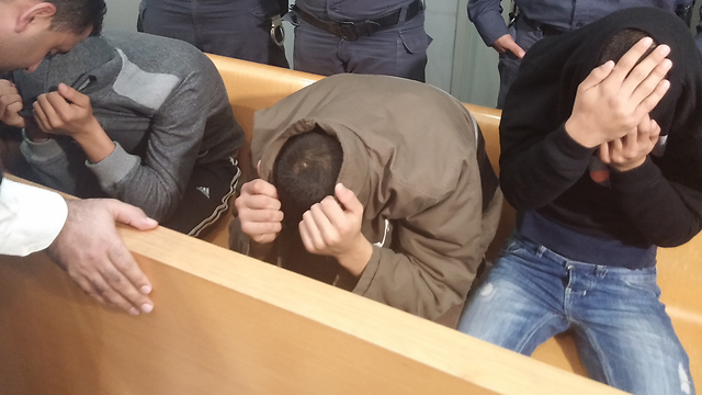 Suspects in Haifa District Court (Photo: Ido Boker)