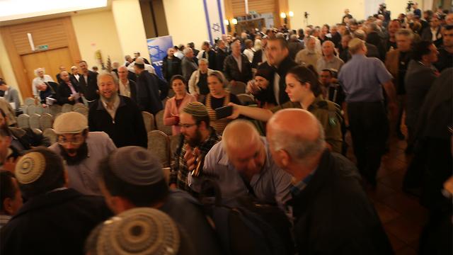 כינוס מרכז הליכוד הסוער באריאל, הערב (צילום: מוטי קמחי) (צילום: מוטי קמחי)