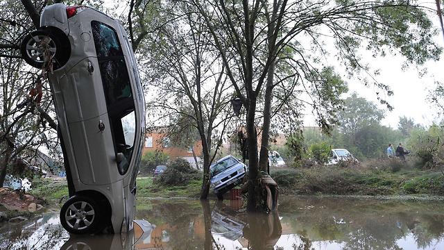 הצפות ליד מונפלייה, צרפת. צילום: סליבן תומס (צילום: AFP) (צילום: AFP)