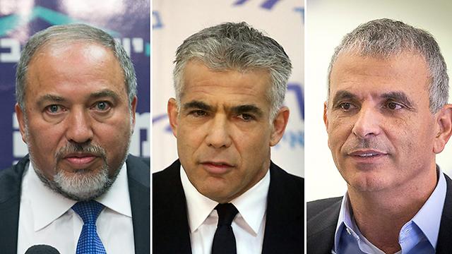 Avigdor Lieberman, Yair Lapid, Moshe Kachlon (Photo: Motti Kimchi, Ohad Zwegenberg, Gil Nechushtan)