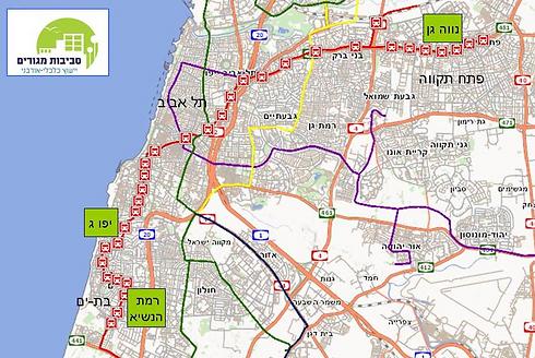 """מסלול הקו האדום במטרופולין ת""""א ו-3 האזורים המומלצים להשקעה, לפי בדיקת סביבות מגורים (נתונים באדיבות חברת סביבות מגורים)"""