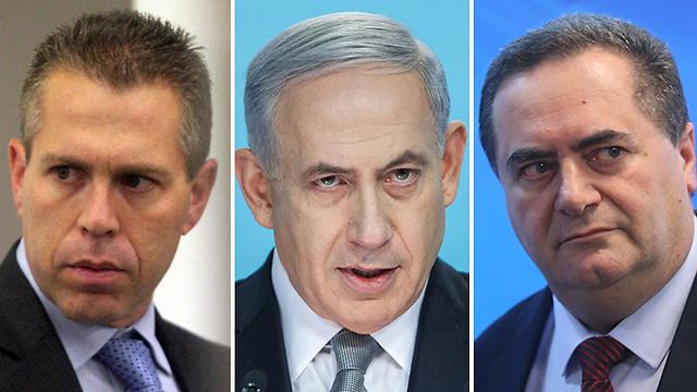 Gilad Erdan, Benjamin Netanyahu, and Yisrael Katz (Photo: Emil Salman, Alex Kolomoisky)  (Photos: Alex Kolomoisky, Emil Salman))