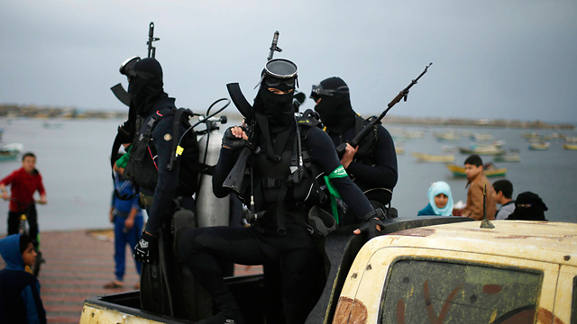Hamas naval commandos at the rally. (Photo: Reuters) (Photo: Reuters)