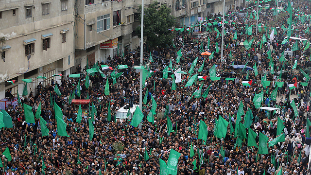 Hamas rally marking 27 years to movement's formation (Photo: EPA) (Photo: EPA)