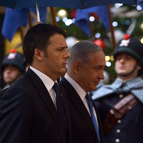 Italian Prime Minister Matteo Renzi and Prime Minister Netanyahu in Rome. (Photo: AFP) (Photo: AFP)