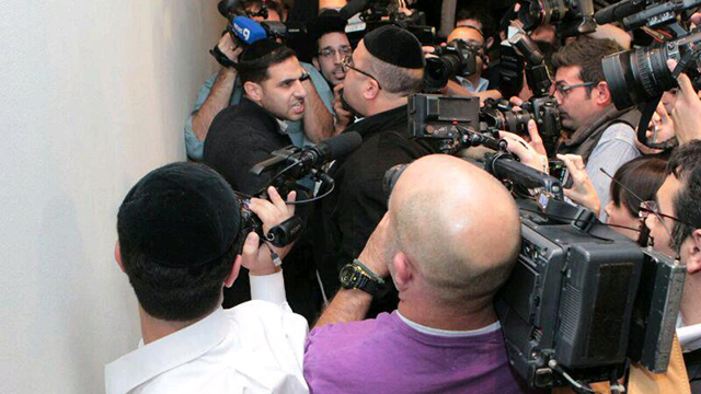 Altercation breaks out after press conference (Photo: Shlomi Cohen, Kikar HaShabat)