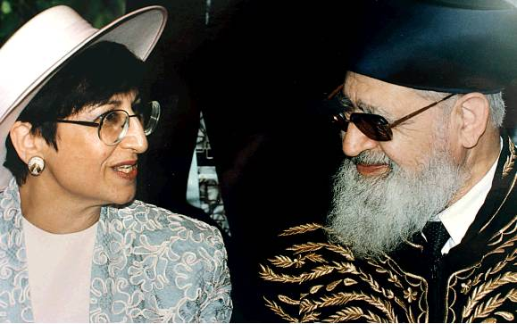 Bar-Shalom with her father, Rabbi Ovadia Yosef (Photo: Alex Kolomoisky)