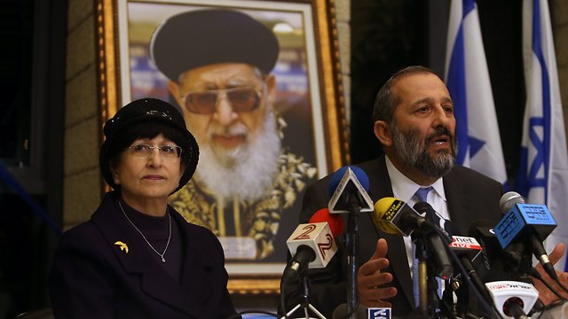Adina Bar-Shalom (L) decried Interior Minister Deri's fall from grace (Photo: Alex Kolomoisky)