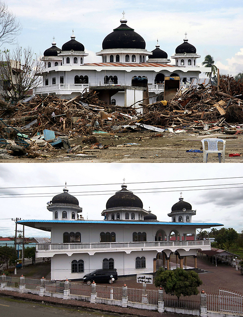 Mosque in Meulaboh seen in January 2004 and November 2014. (Photo: AFP)