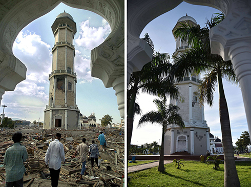 Banda Aceh's Baiturrahaman mosque in 2004 and 2014. (Photo: AFP)