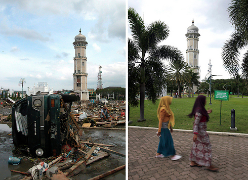 The Baitulrahman Mosque on December 26 2004, and a view of the same area on December 16 2014. (Photo: EPA)