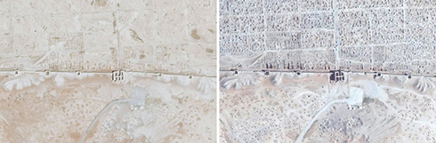 The ancient city Dura Europos near the village of Salhiye: On the left, Sept 2011, on the right, April 2014 (Photo: AFP / UNITAR-UNOSAT)