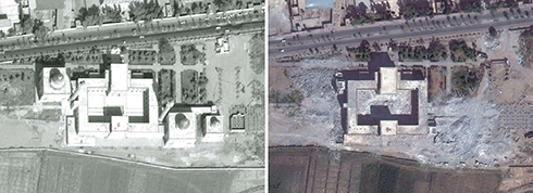 A temple in Raqqa: On the left, Oct 2011, on the right, Oct 2014 (Photo: AFP / UNITAR-UNOSAT)