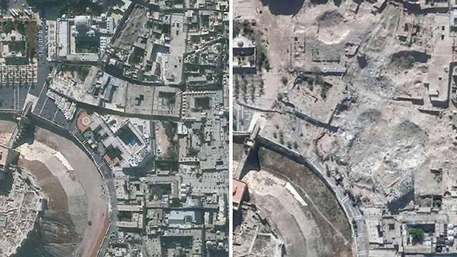 Ancient Aleppo: On the left, Nov 2010, on the right, Oct 2014 (Photo: AFP / UNITAR-UNOSAT)