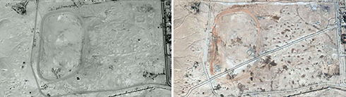 A Necropolis in Palmyra: On the left, Oct 2009, on the right, Oct 2014 (Photo: AFP / UNITAR-UNOSAT)