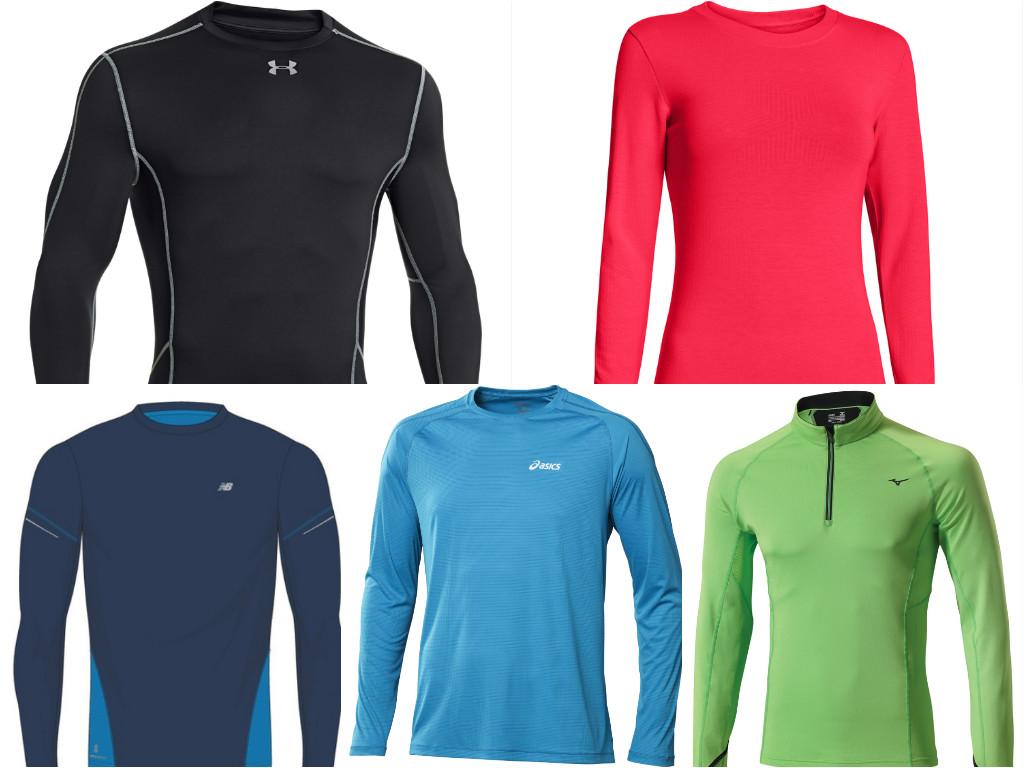 """משמאל למעלה בכיוון השעון: COLDGEAR מקולקציית COMPRESSION של אנדר ארמור (209 שקל), אינפרא רד לנשים של אנדר ארמור (209 שקל), חולצת ריצה של מיזונו (379 שקל), חולצת אימון של אסיקס לחורף (179 שקל) וחולצת אימון של ניו-באלאנס (379 שקל) (צילום: יח""""צ) (צילום: יח"""