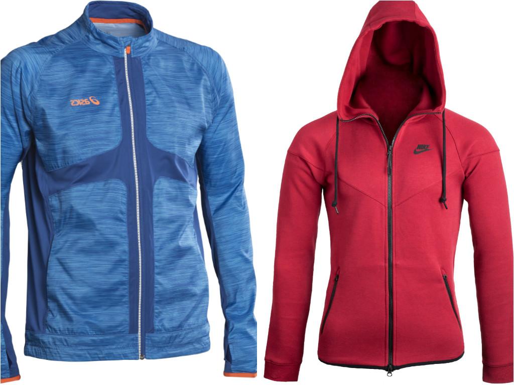 """משמאל: מעיל אימון של אסיקס (499 שקל) ועליונית ספורטיבית של נייקי (529.90 שקל) (צילום: יח""""צ) (צילום: יח"""