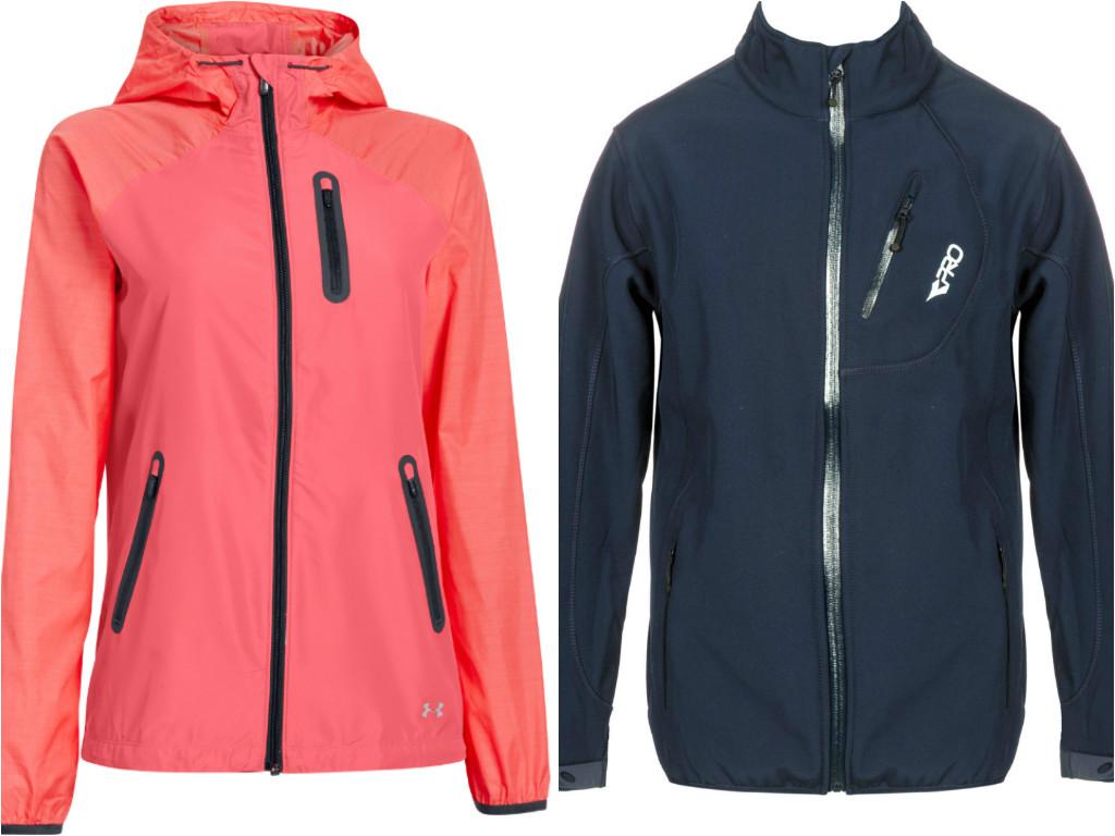 """משמאל: מעיל מעוצב של אנדר ארמור לנשים (449 שקל) וג'קט ספורטיבי של דיאדורה (369 שקל) (צילום: יח""""צ) (צילום: יח"""
