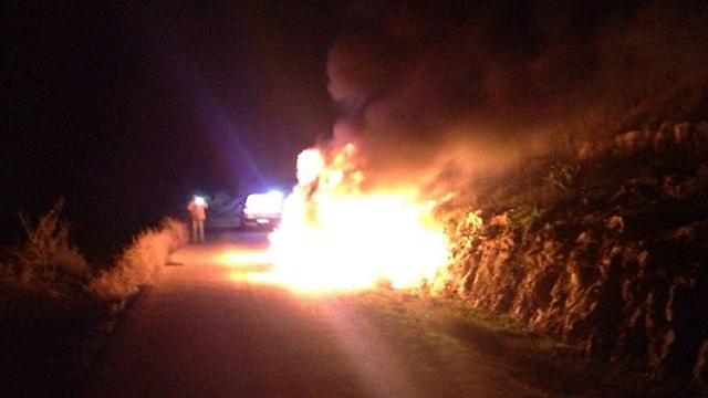 Aftermath of firebomb attack on car carrying Ayala Shapira (Photo: Regional Rescue Services)
