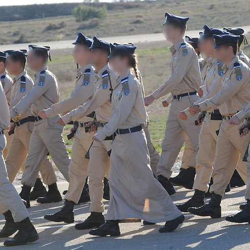 """""""Yael"""" marches with fellow IAF cadets (Photo: Herzl Yossef)"""