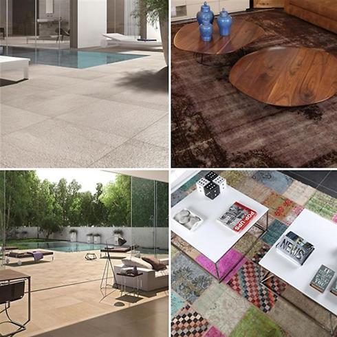 עירוב סגנונות. מימין: שטיח עתיק ומודרני ושטיח צבעוני של צמר שטיחים יפים; המותג COTTODESTE של חברת HeziBank