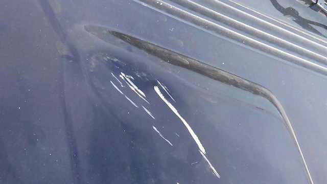 Damage caused to the American vehicle (Photo: Zechariya Sadeh)