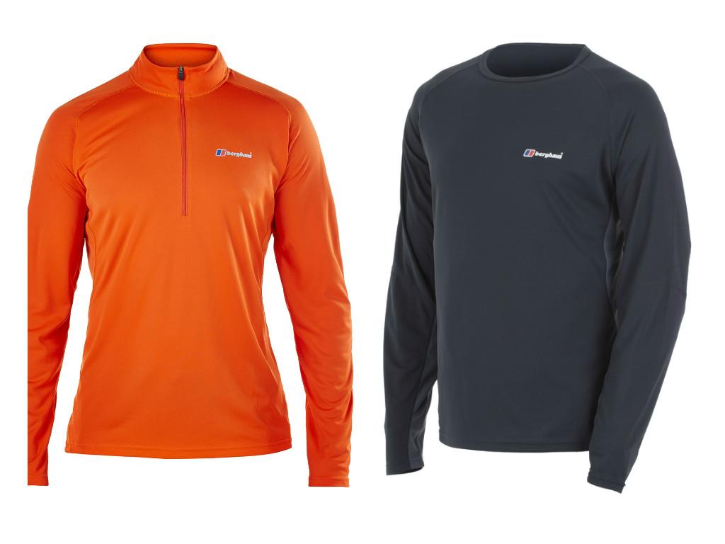 מימין: חולצה מנדפת זיעה של ברגהאוס (340 שקל), חולצה מנדפת זיעה עם רוכסן של ברגהאוס (380 שקל) ()