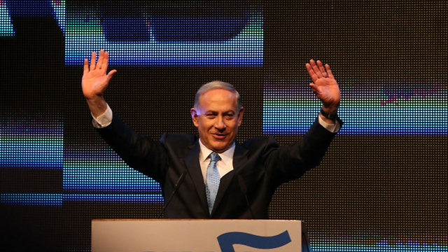 Netanyahu launching the Likud campaign. (Photo: Motti Kimchi)