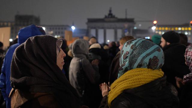 הפגנת נגד התנועה האנטי-איסלאמית, ברלין (צילום: AFP)