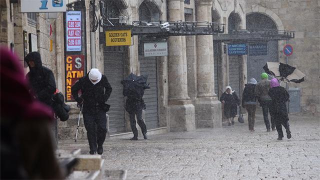Heavy rain and wind in Jerusalem (Photo: Gil Yohanan)