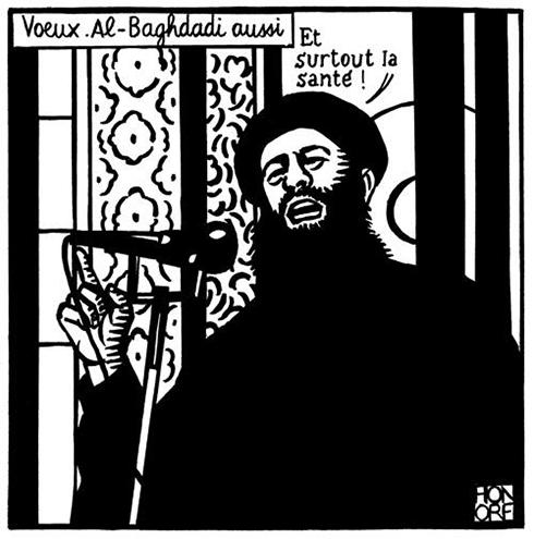 """קריקטורה נוספת הלועגת למנהיג דאעש שפורסמה בעמוד הטוויטר של """"שארלי הבדו"""" ()"""