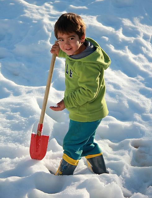 Celebrating fresh snow in the Eli settlement in the West Bank (Photo: Toby Sarid) (Photo: Toby Sarid)