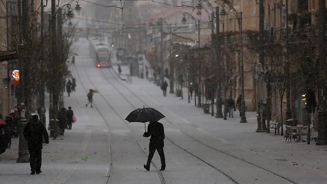 Snow in Jerusalem. Women permitted to postpone mikveh visit (Photo: EPA)