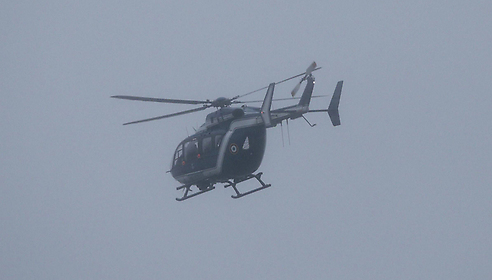 French police helicopter chasing the two suspects. (Photo: AFP) (Photo: AFP)