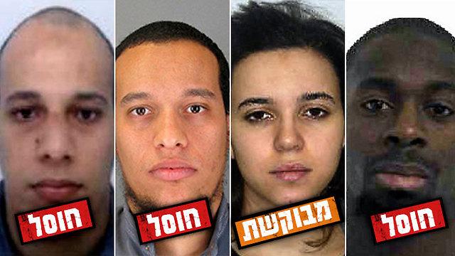מימין לשמאל: קוליבלי, בת זוגו הנמלטת בומדיאן והאחים קואשי (צילום: AFP, AP) (צילום: AFP, AP)
