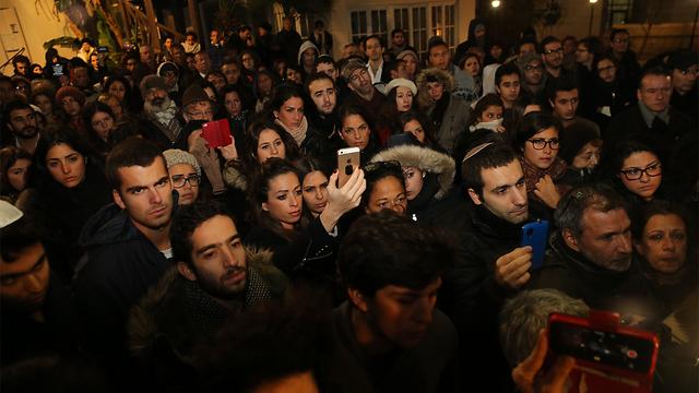 העצרת שהתקיימה הערב בתל אביב לזכר הנרצחים (צילום: מוטי קמחי) (צילום: מוטי קמחי)